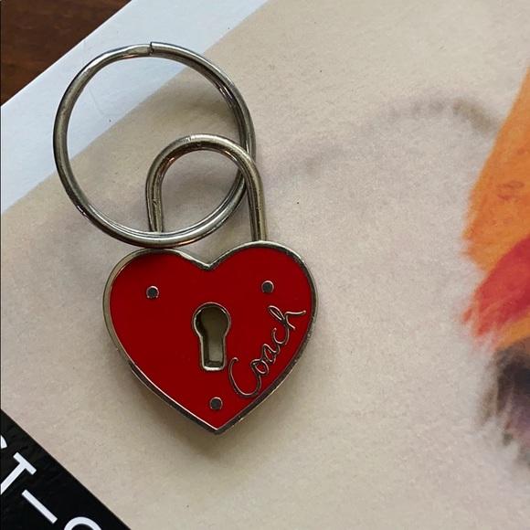 Coach heart lock keychain